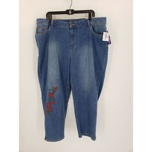 Catherine's Floral Embroidered Ankle Crop Jeans